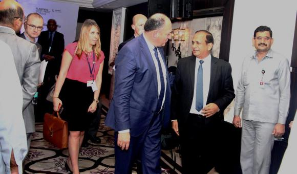 HE Willy Borsus, Minister President of the Belgian region of Wallonia, in discussions with Mr. Ramesh Abhishek